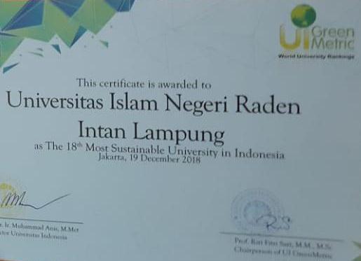 Penilaian UI Greenmetric, UIN Lampung Peringkat 20 Besar Nasional